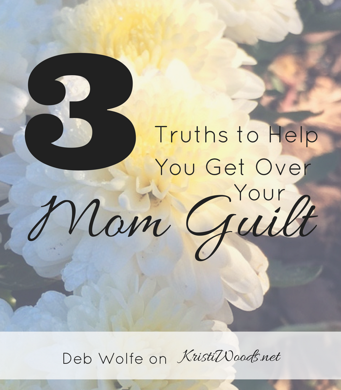 Flowers in the background with Christian blog post title over top. 3 Truths to Help You Get Over Your Mom Guilt