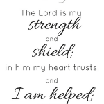 Psalm 28:7 The Lord is my strength and shield; in him my heart trusts, and I am helped.