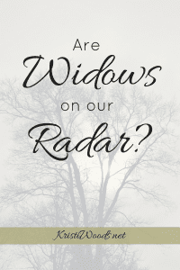 A tree faded in the background with the words Are Widows on our Radar? across the top