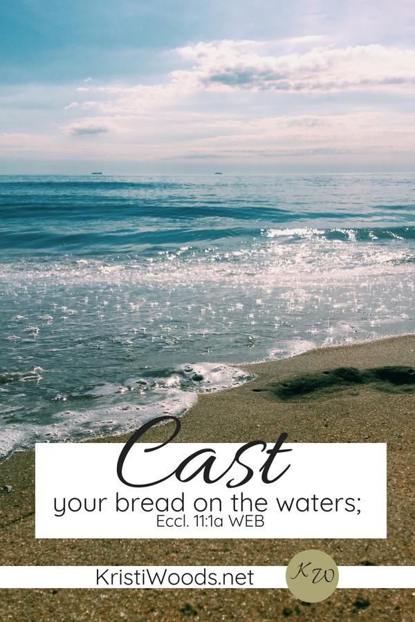A Bible verse, Eccl 11:1, listed on a beach scene.