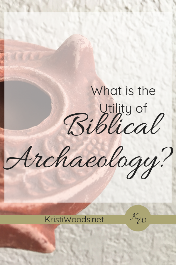 Biblecal Clay Lamp Replica wtih the words What is the Utility of Biblical Archaeology? written across it.