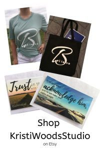 Pictures of t-shirts, scripture cards, and a tote bag