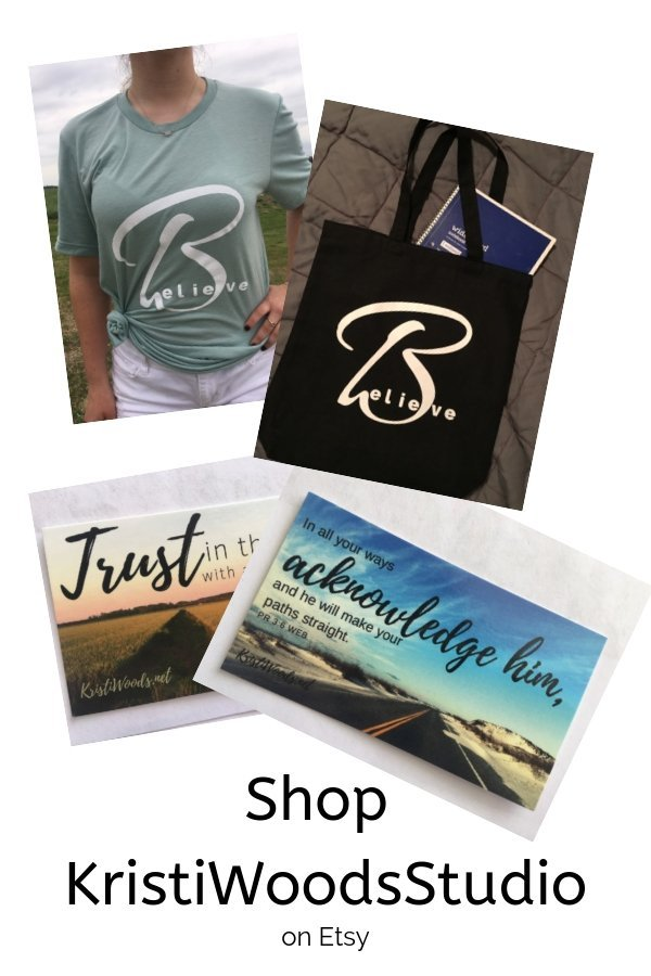 Pictures of Christian faith t-shirts, scripture cards, and a tote bag
