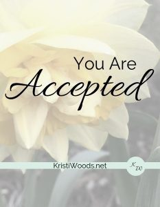 You Are Accepted in Black with yellow daffodil behind