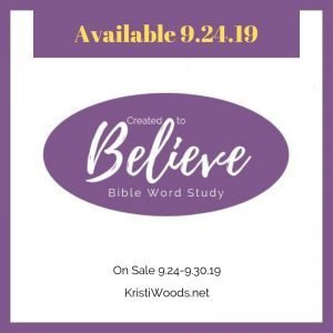 Purple oval with white words announcing the Created to Believe Bible study