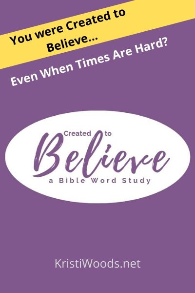 Purple background with announcement of Christian Bible word study for Christian women called Created to Believe