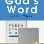 Picture of two versions of the Fresh Start Bible with the title above it in a blue square