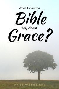 Lone tree on a foggy morning with Christian blog post title: What Does the Bible Say About Grace?