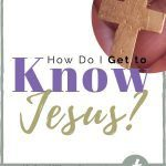 Hand with a cross and Christian blog post title about Knowing Jesus