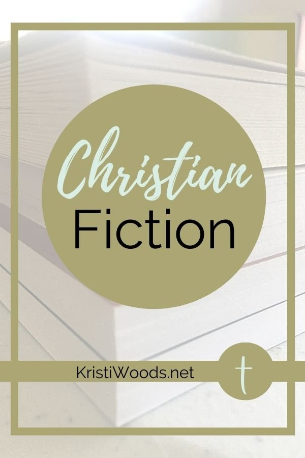 Stack of Christian Books with Christian Fiction Label