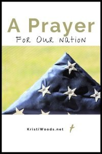 American flag with Christian blog post title about prayer