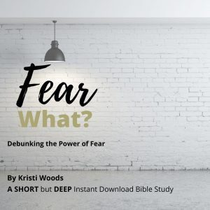 Christian Bible study title, Fear What? Debunking the Power of Fear, listed under a light and against a white brick wall.