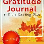 Leaves in background with Gratitude Journal title above