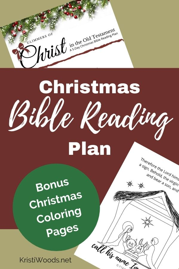 Christmas Bible reading plan and Christmas coloring pages in small view beside Christian blog post title