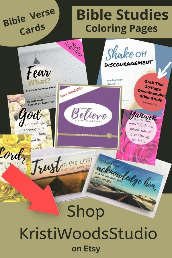 Products for sale (Digital Bible studies, bible verse cards) on graphic for Kristi Woods Etsy story - Shop Christian products