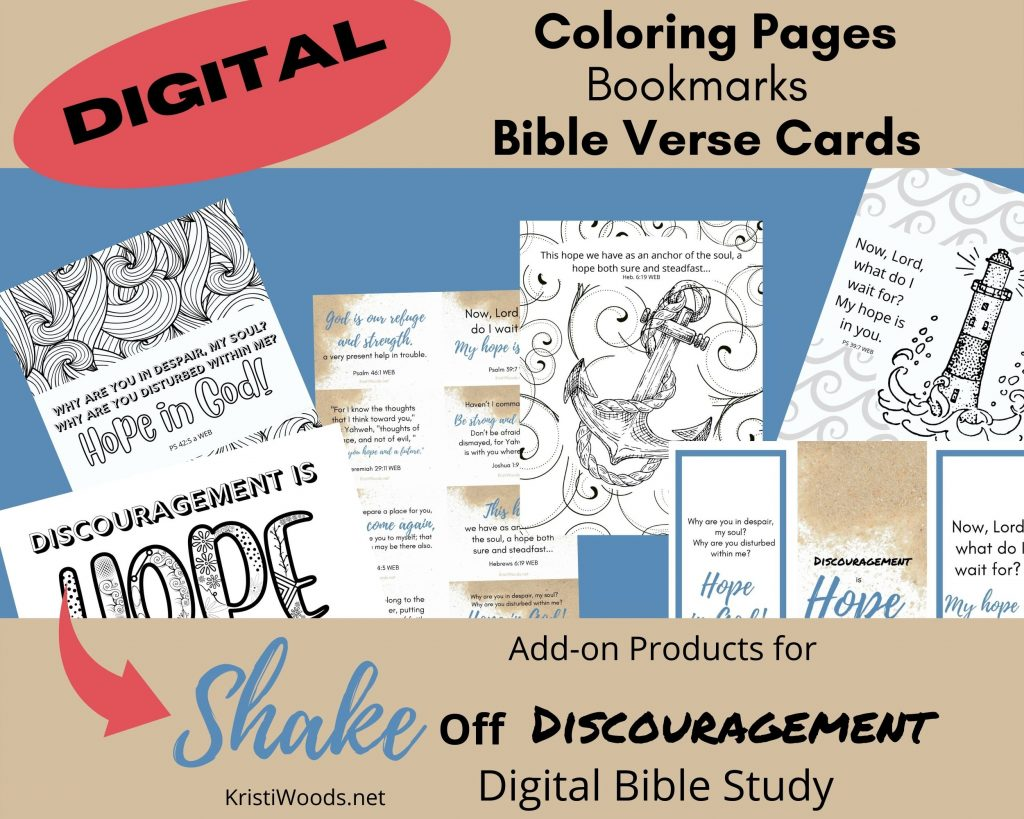 Graphic showing what Christian printables are available in this download of Adult Bible coloring pages, bookmarks, and Bible verse printables