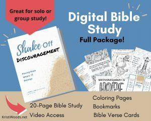Shake Off Discouragement Digital Bible Study plus examples of Bible coloring pages, Bookmarks, and Printable Bible Verse Cards for Hope
